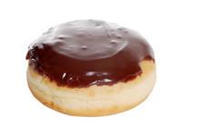 Isolated Boston Cream Doughnut On A White Background