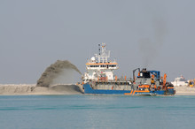 Special Dredge Ship Pushing Sand To Create New Land