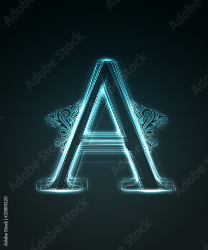 Photo Glowing font. Shiny letter A