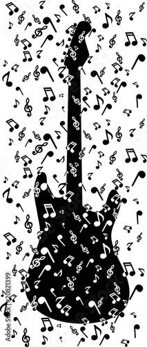 Tuinposter Art Studio notes in guitar