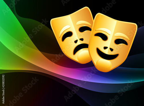 Fotografie, Tablou  Comedy and Tragedy Masks on Light Wave Background