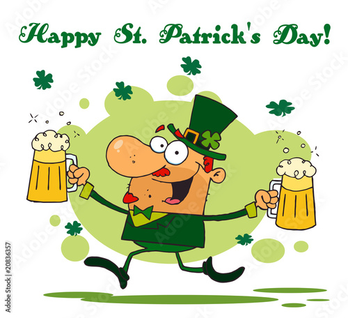 Spoed Fotobehang Piraten St Patrick's Day Greeting Of A Leprechaun Running With Two Beers