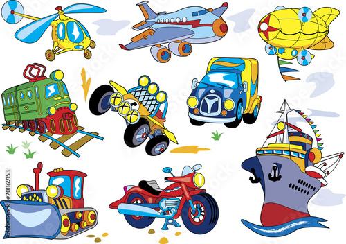 Foto op Canvas Cartoon cars Vector cartoon transport set