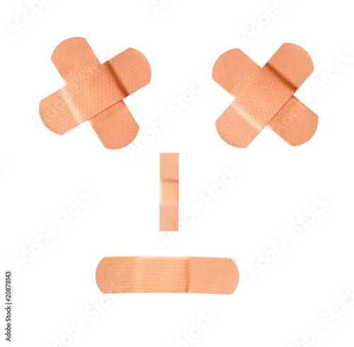 Photo Adhesive bandage covering wound, isolated