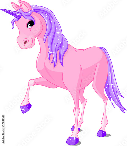 Foto op Canvas Pony Pink Unicorn