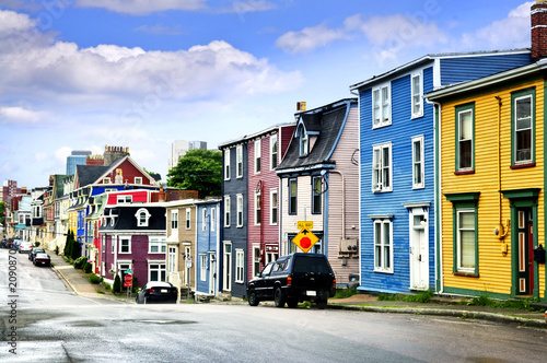 Colorful houses in St. John's Fototapeta