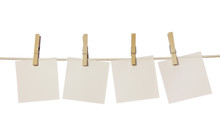 Four White Blank Notes Hanging...