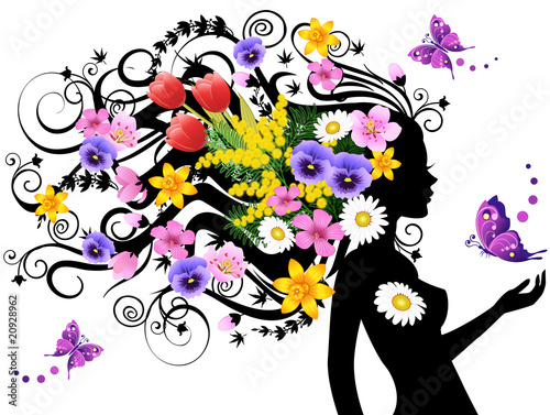 Door stickers Floral woman Spring fairy