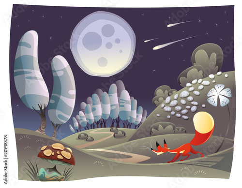 Fox in the night. Funny cartoon and vector scene.