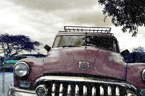 Deurstickers Cubaanse oldtimers Cuba Rain