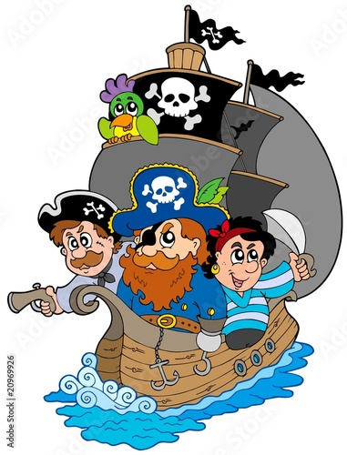 Tuinposter Piraten Ship with various cartoon pirates