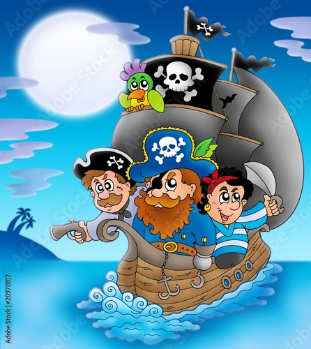 Poster de jardin Pirates Sailboat with cartoon pirates at night