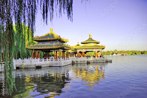Photo Stands Beijing Beijing Beihai imperial park five dragon pavilions