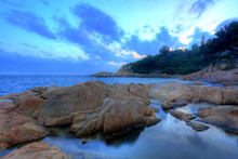 Sunset Time On Coast, In Cheung Chau, Hong Kong