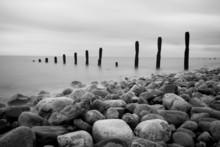 Groynes And Rocks Seascape