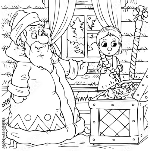 Poster Doodle Little girl and Grandfather Frost