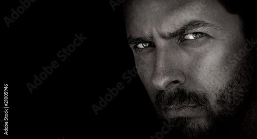 Obraz Dark portrait of scary man with evil eyes - fototapety do salonu