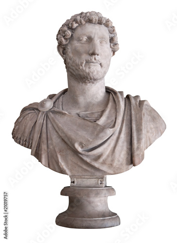 Ancient marble bust of the roman emperor Hadrian isolated on whi Canvas Print