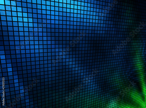 Poster Fumee Abstract blue and green lights 3D mosaic.