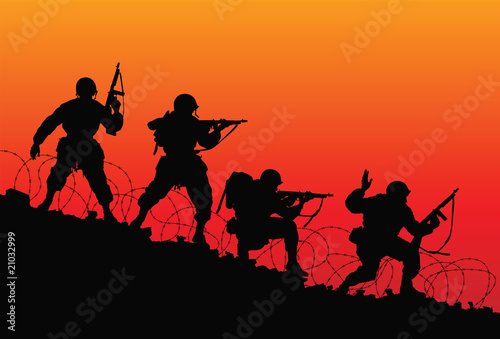 Poster Militaire Assault. Vector silhouette of soldiers.