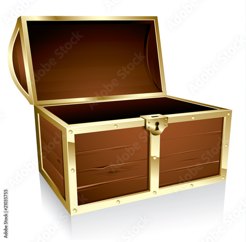 Fotografie, Obraz  Illustration of a wooden treasure chest with nothing in it