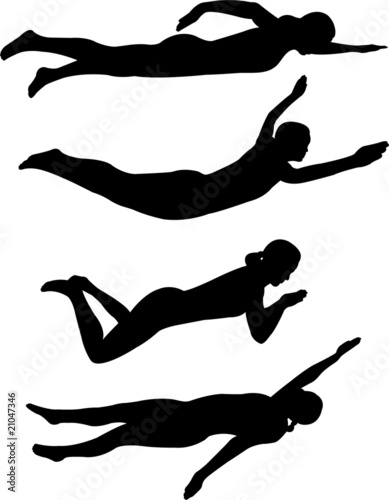 Fotomural swimming styles silhouettes - vector