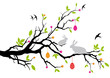 easter bunnies sitting on a spring tree, vector