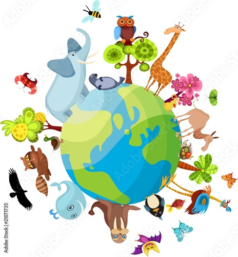 Deurstickers Zoo animal planet new