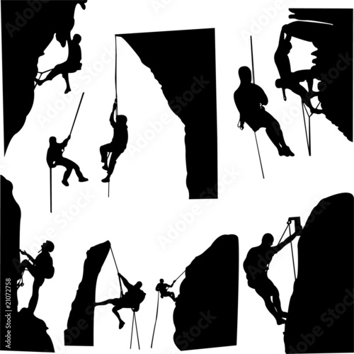 Tableau sur Toile rock climbers silhouette collection - vector