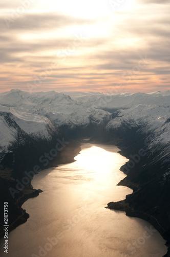 Foto op Canvas Zwart Norwegian Mountains
