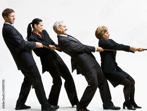 Fotografie, Obraz  Business people playing tug-of-war