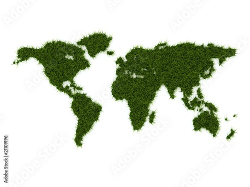 Foto op Canvas Wereldkaart World map from green grass