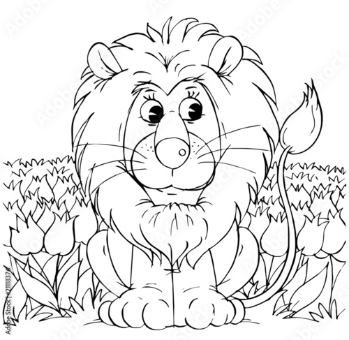 lew-wsrod-kwiatow-zabawna-kolorowanka