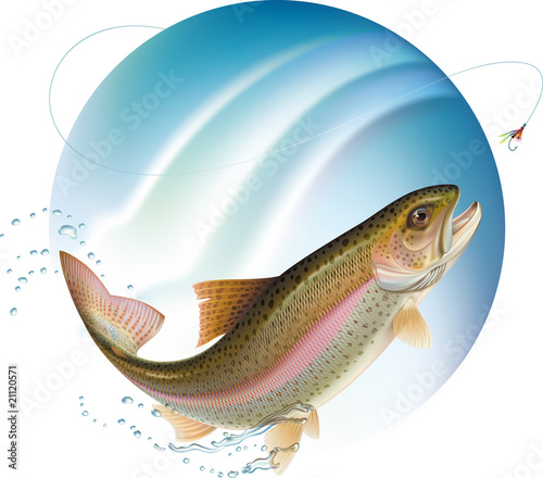 Fotomural Jumping trout