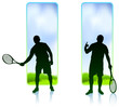 Tennis Player set with Nature Frame Background