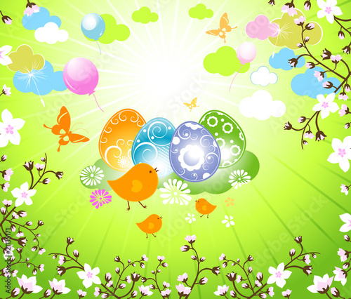Poster Oiseaux, Abeilles birds and decorated eggs