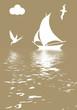 illustration sailboat in ocean