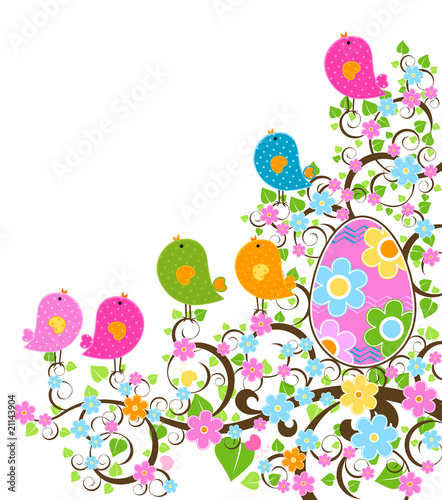 Deurstickers Vogels, bijen easter design