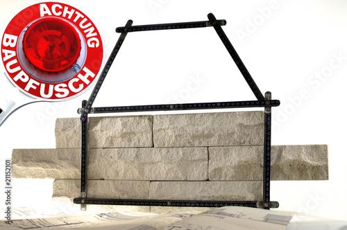 Fotografie, Obraz  Pfusch am Bau in der Baubranche