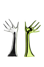 Two Metallic Arms With Open Palms