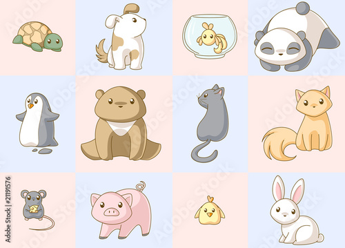 Photo  Animals kawaii set