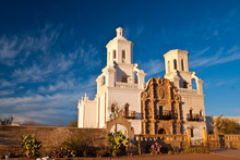 Mission San Xavier At Sunset