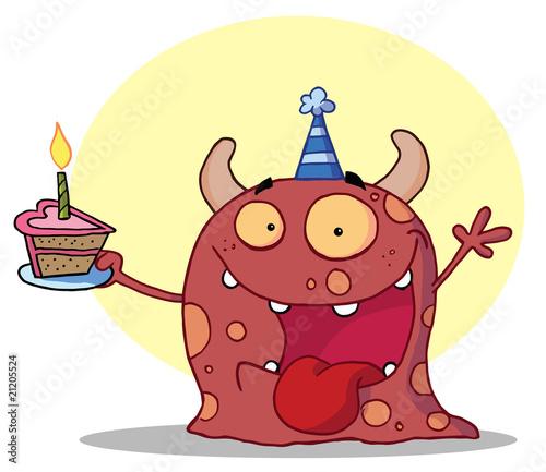 Foto op Canvas Schepselen Happy Red Monster Celebrates Birthday With Cake