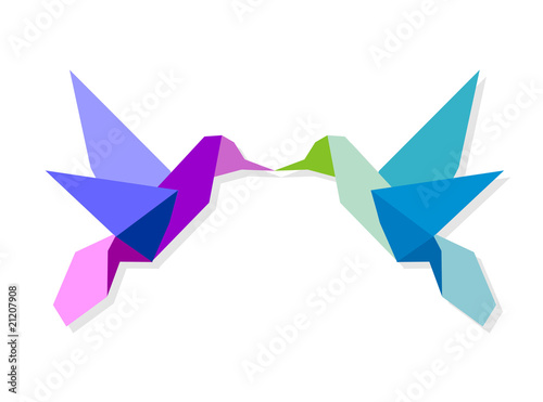 Tuinposter Geometrische dieren Couple of colorful origami hummingbird