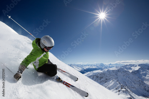 Fotografie, Obraz  Skier with sun and mountains