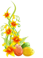 Easter Greeting Card With Lilium And Eggs