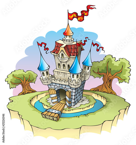 Door stickers Castle Cartoon fantasy castle, surrounded by water moat, vector