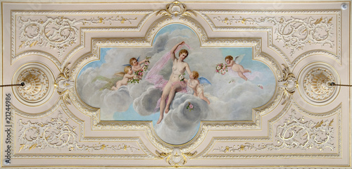 Fotografie, Obraz  ceiling fresco with figure of a woman and  little angels