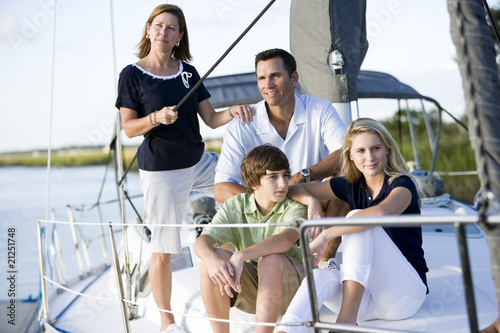 Fotografie, Obraz  Family with teenagers relaxing together on boat