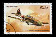 Stamp Printed In Cuba Featuring A WW2 Ilyushin Fighter Aircraft